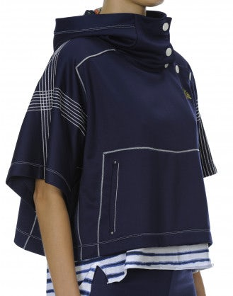 OFFBEAT: Navy hooded, wide sleeve cropped top