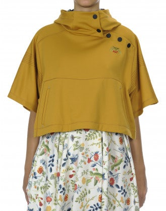 OFFBEAT: Yellow hooded, wide sleeve cropped top