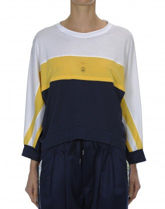 TRULY: White, yellow and navy sweatshirt style top