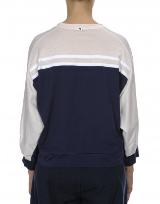 TRULY: Pink, navy, white sweatshirt style top