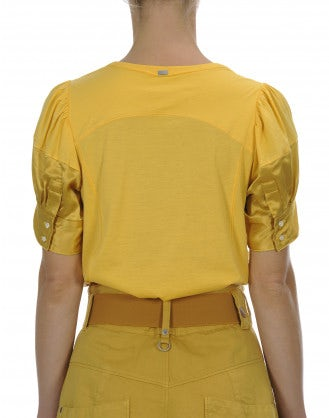 BEAMING: Cotton jersey top with satin short sleeve