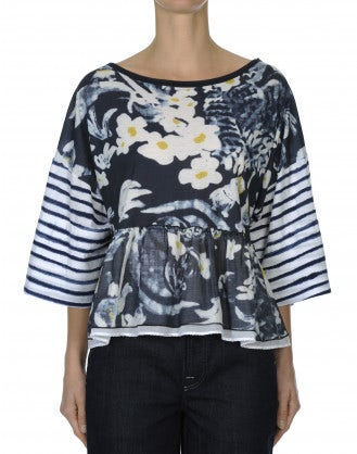 "ADMIRE: ""Painted"" floral and stripe top with frill hem"