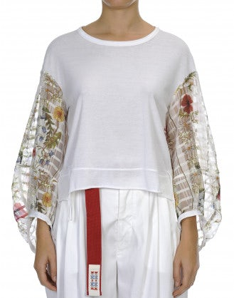 DARLING: Top in jersey con maniche lunghe a fiori