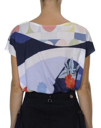 INTERPLAY: T-shirt con stampa floreale blu e rosa