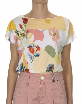 INTERPLAY: T-shirt con stampa floreale gialla e rosa