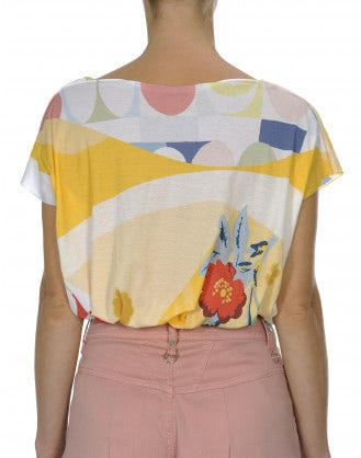 INTERPLAY: Yellow and pink printed jersey square-cut tee