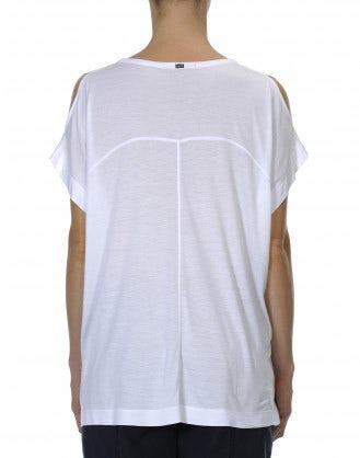 LITERAL: Top ampio in modal con apertura sulle spalle, color crema