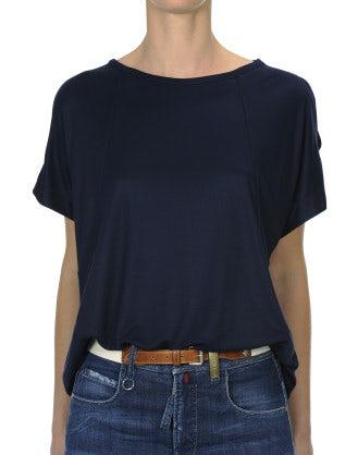LITERAL: Top ampio in modal con apertura sulle spalle, blu navy