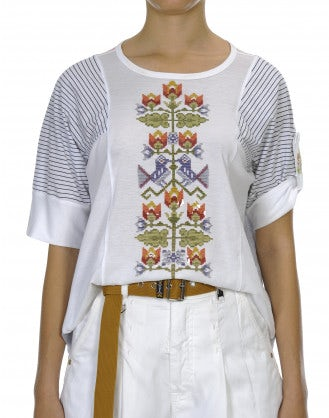 REPOSE: Floral motif front top with stripe sleeve