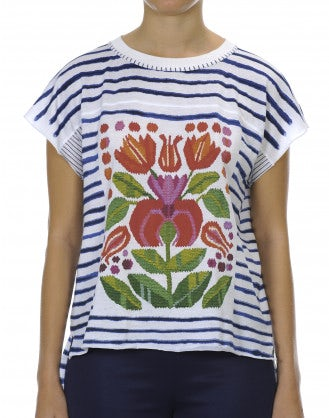 REVEL: Horizontal stripe tee with floral front