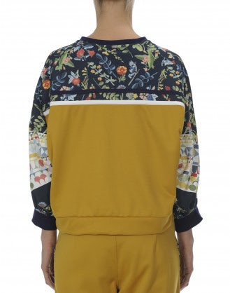 AESTHETIC: Yellow, navy, cream and floral sweatshirt top