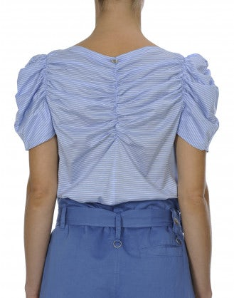 LYRICAL: Pale blue stripe ruched cotton jersey top