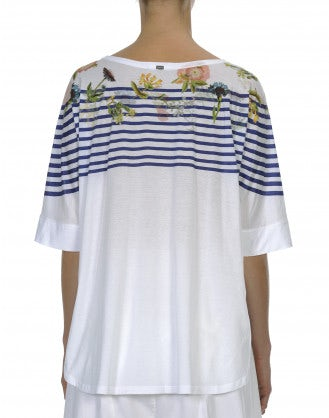 FRIVOLITY: Seamless t-shirt with breton stripe with floral motif