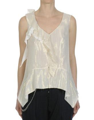 GLEAM: Top a canotta in tessuto crema con rigatura dorata