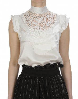 "EVOKE: High neck top in cream silk with ""petals"" and lace"