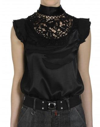 EVOKE: Top a collo alto in seta nero con decorazione effetto petalo e pizzo