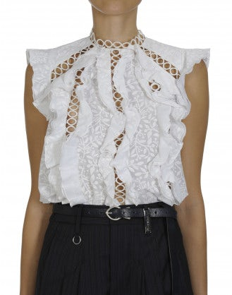 INFINITY: Ruffle top with inset lace ribbon bands