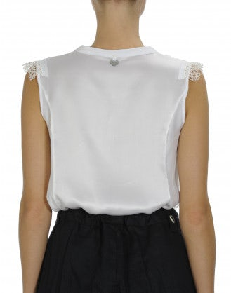 RECITE: Fine jersey and ribbon lace top