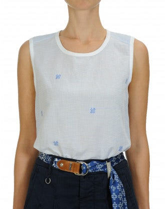 SILENT: Tank in blue linen cotton with woven floral and stripe