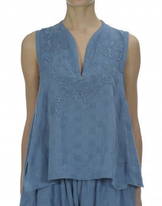WAFT: China blue chequerboard embroidered top