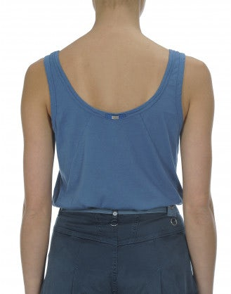 FLY: Cyan cotton jersey vest top