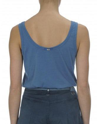 FLY: Cyan cotton jersey vest top
