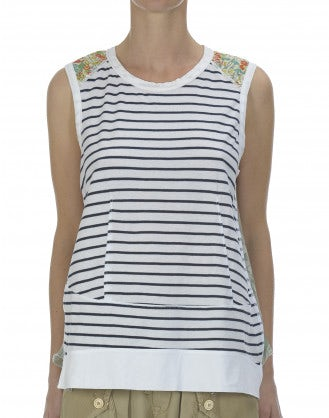 VERDANT: Stripe and floral mix top