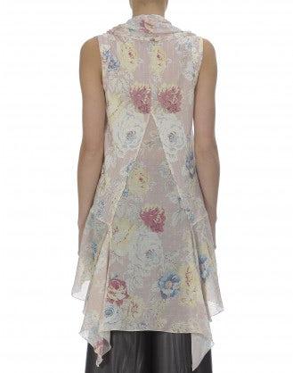 FICHU: Tie front floral print top