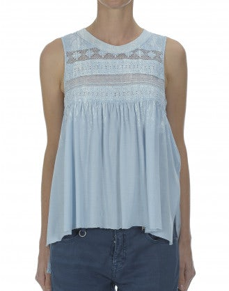 CONDONE: Pale blue over printed top