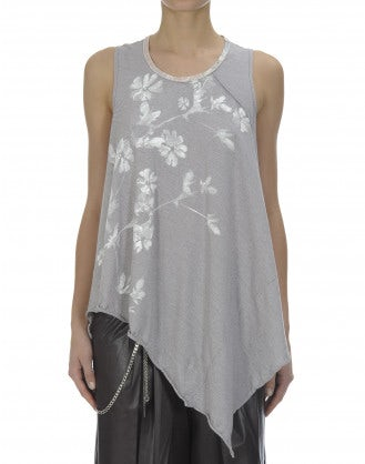 SLIP: Asymmetric burgundy and white stripe and florals tank