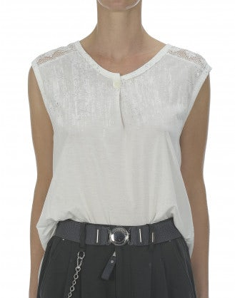 SWAY: Top color crema con pizzo