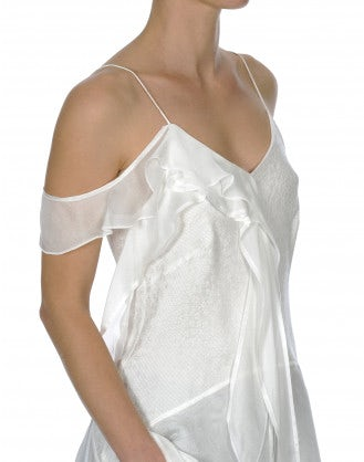 BARDOT: Top bianco in seta con pannelli drappeggiati