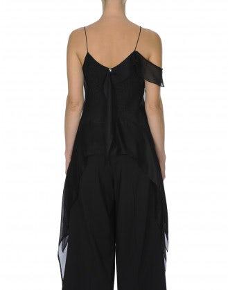 BARDOT: Top nero in seta con pannelli drappeggiati