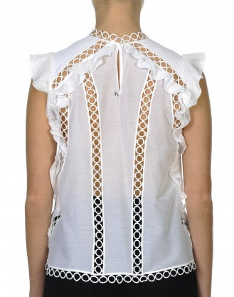 MAY-DAY: Ruffle top with inset lace ribbon bands