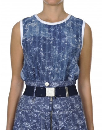STANZA: Blue and white floral sleeveless top