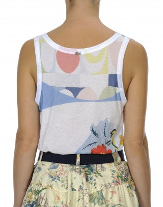 PEEK: Geo floral print tank in cotton jersey