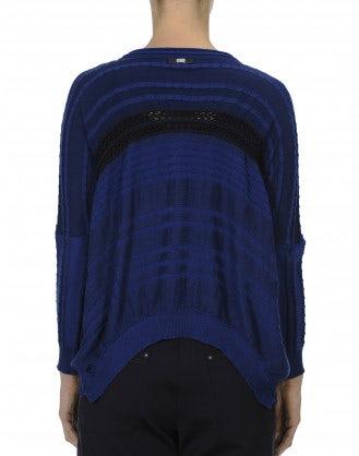 CHEER-UP: Cardigan in cotone con zip frontale in diverse tonalità di blu