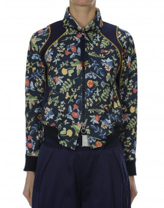 DOTING: Floral on navy print athleisure jacket