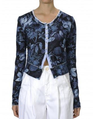 TIDY: Cardigan corto e aderente in jersey con motivo floreale