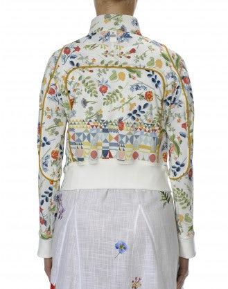 DOTING: Floral on cream print athleisure jacket