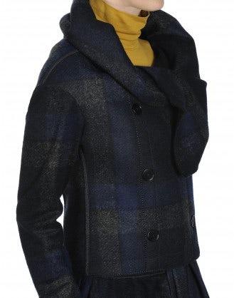 SHAMAL: Giacca in jersey quadrettato con collo a scialle