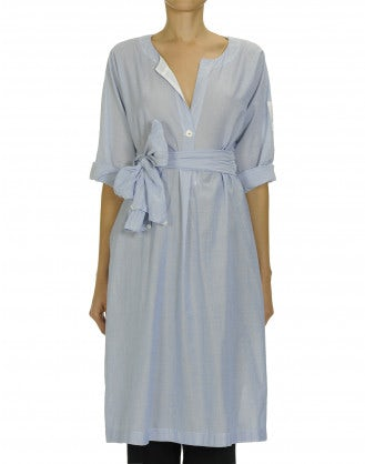 VIVID: Blue one button shirtwaist dress