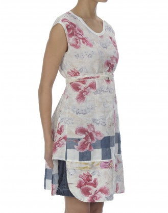 ETCH: Floral and check print linen tunic dress