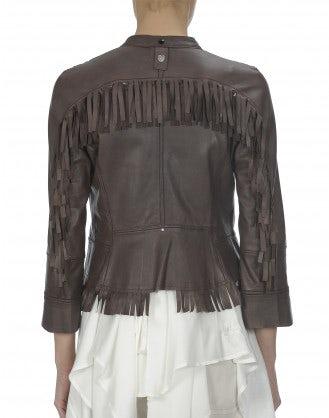 STYX: Dark brown diamante front tassel leather jacket