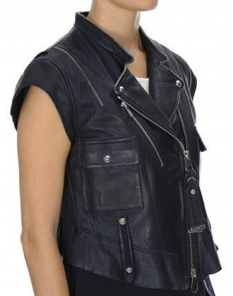 ROWDY: Gilet biker in pelle blu navy