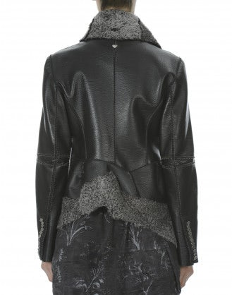 SAGA: Pewter shearling shawl collar leather jacket