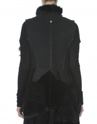 IN AWE OF: Gilet nero in pelliccia, shearling e pelle