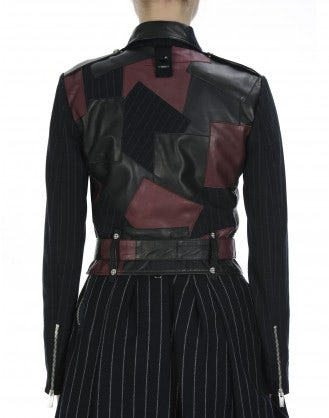BAUHAUS: Patchwork pinstripe and leather jacket