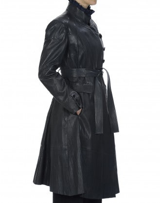 DRAMATIST: Navy leather coat with stand collar