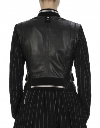 "DUEL: Black leather and wool ""bomber"" style jacket"